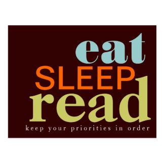 Coma, duerma, lea - su postal de las prioridades
