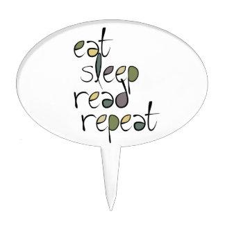 Coma, duerma, leído, repetición palillos de tarta