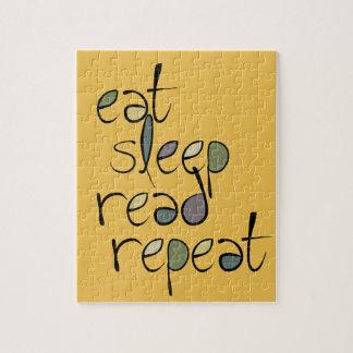 Coma, duerma, leído, repetición rompecabeza con fotos