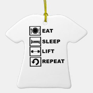 Coma, duerma, levante, repita adorno de cerámica en forma de camiseta