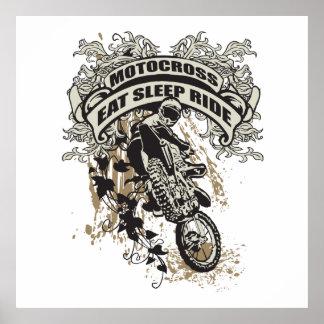 Coma, duerma, monte el motocrós póster