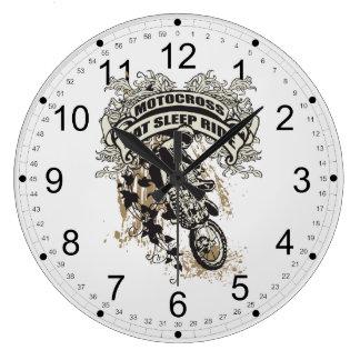 Coma, duerma, monte el motocrós reloj redondo grande
