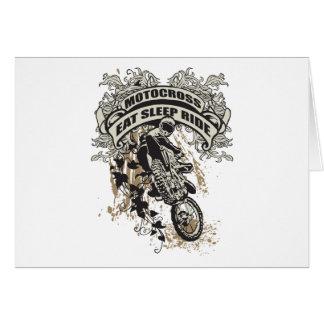 Coma, duerma, monte el motocrós tarjeta de felicitación