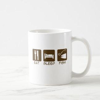Coma, duerma, pesque taza básica blanca