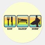Coma, duerma, practique surf pegatina redonda