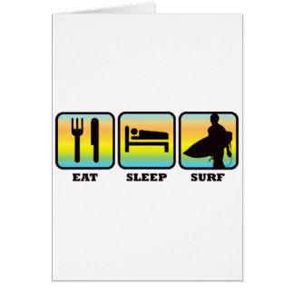 Coma, duerma, practique surf tarjeta de felicitación