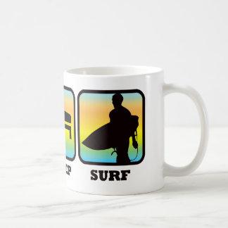 Coma, duerma, practique surf taza básica blanca