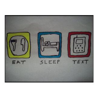 coma, duerma, texting la tarjeta postal