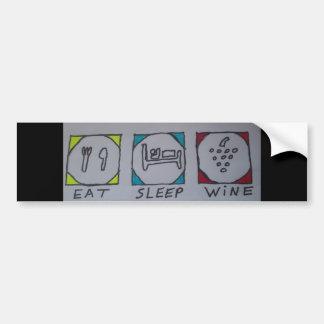 coma, duerma, wine pegatina para el parachoques pegatina para auto
