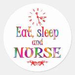 Coma, duerma y cuide pegatinas redondas
