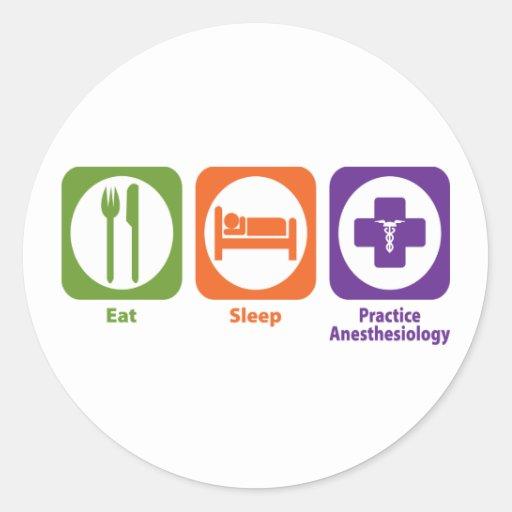 Coma el Anesthesiology de la práctica del sueño Pegatinas Redondas