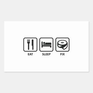Coma el arreglo del sueño pegatina rectangular