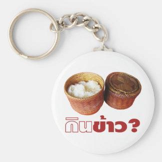 ¿Coma el arroz? [Ginebra Khao?]… comida tailandesa Llavero Redondo Tipo Pin