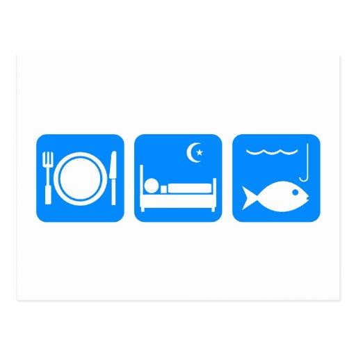 Coma el azul de los pescados del sueño postal