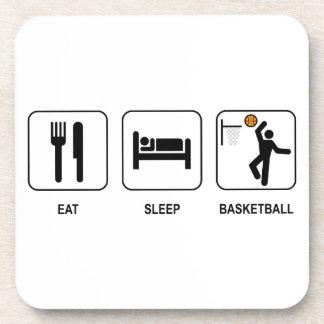 Coma el baloncesto del sueño posavasos de bebidas