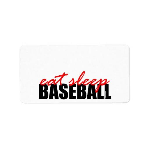 Coma el béisbol del sueño etiquetas de dirección