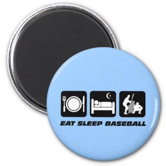 Coma el béisbol del sueño imán de nevera
