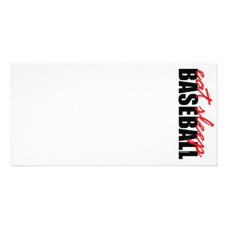 Coma el béisbol del sueño tarjetas fotograficas personalizadas