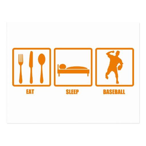 Coma el béisbol del sueño tarjeta postal