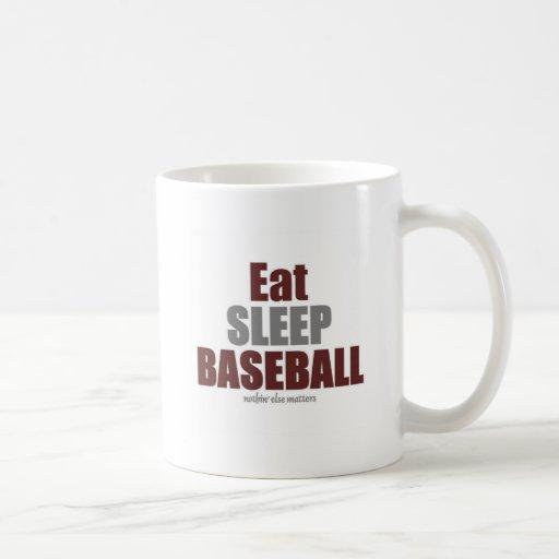 Coma el béisbol del sueño taza de café