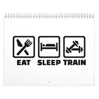 Coma el Bodybuilding del tren del sueño Calendario