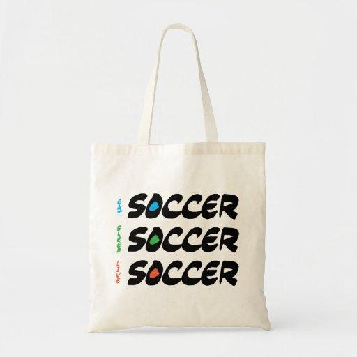 Coma el bolso vivo del fútbol del sueño bolsa tela barata