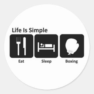 Coma el boxeo del sueño pegatina redonda