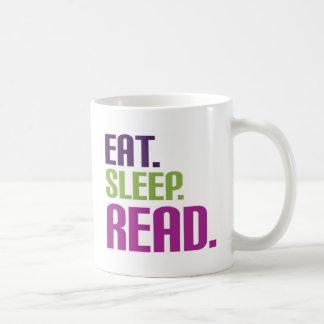 Coma el camisetas y los regalos leídos sueño taza de café