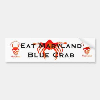 Coma el cangrejo azul de Maryland Etiqueta De Parachoque