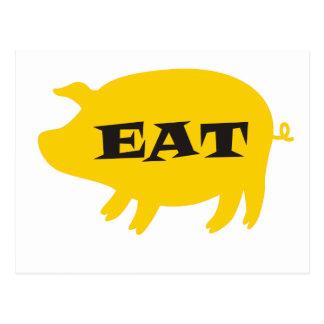 Coma el cerdo amarillo postal