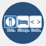 coma el código del sueño (el HTML) Pegatina Redonda