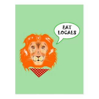 Coma el dibujo animado divertido del humor de la tarjetas postales