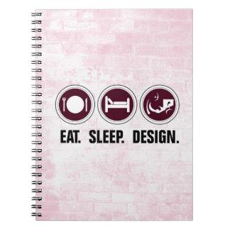 Coma el diseño del sueño (el rosa) libro de apuntes con espiral