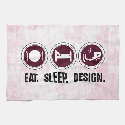 Coma el diseño del sueño (el rosa) toallas de cocina