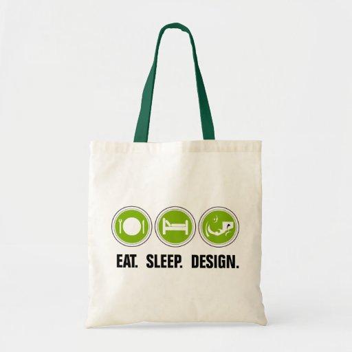 Coma el diseño del sueño (el verde) bolsa tela barata