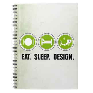 Coma el diseño del sueño (el verde) libros de apuntes con espiral