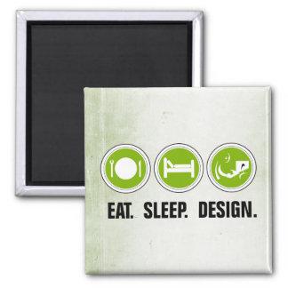 Coma el diseño del sueño (el verde) imán cuadrado