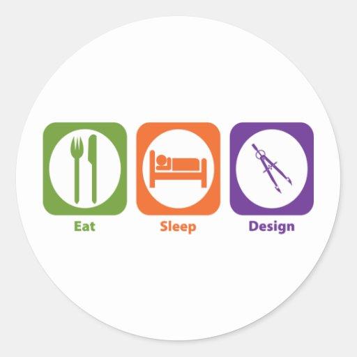 Coma el diseño del sueño etiquetas redondas