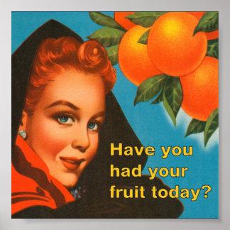 Coma el diseño del vintage de la fruta impresiones