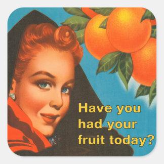 Coma el diseño del vintage de la fruta pegatina cuadrada