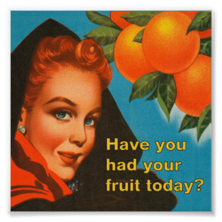 Coma el diseño del vintage de la fruta póster
