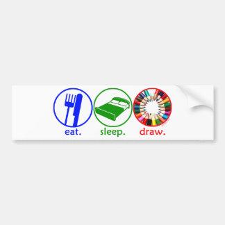 Coma el drenaje del sueño etiqueta de parachoque