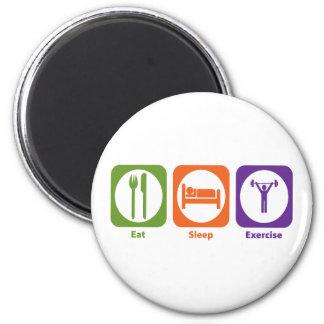 Coma el ejercicio del sueño imán redondo 5 cm