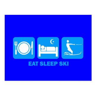 coma el esquí acuático del sueño postal
