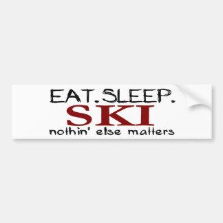 Coma el esquí del sueño etiqueta de parachoque