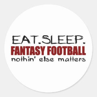 Coma el fútbol de la fantasía del sueño pegatina redonda