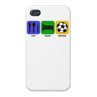 Coma el fútbol del sueño iPhone 4 cárcasas