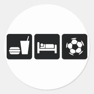 Coma el fútbol/el fútbol del sueño etiqueta redonda