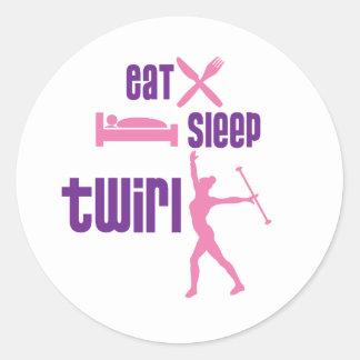 Coma el giro del sueño pegatina redonda
