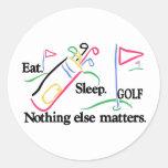 Coma el golf del sueño pegatina redonda